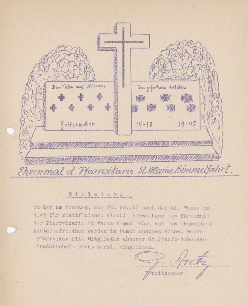 einladung zur Einweihung der ersten Gedenkstätte