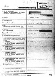 Todesbescheinigung Therese, Kreisarchiv Viersen Wa-VII-13
